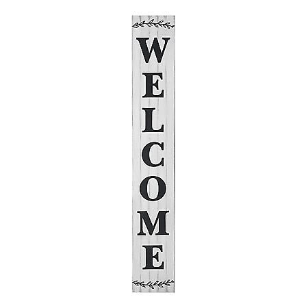 Member's Mark Distressed White 'Welcome' Wooden Porch Sign