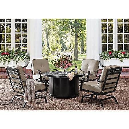 Member's Mark Agio Hastings 5-Piece Fire Pit Chat Set with Sunbrella Fabric