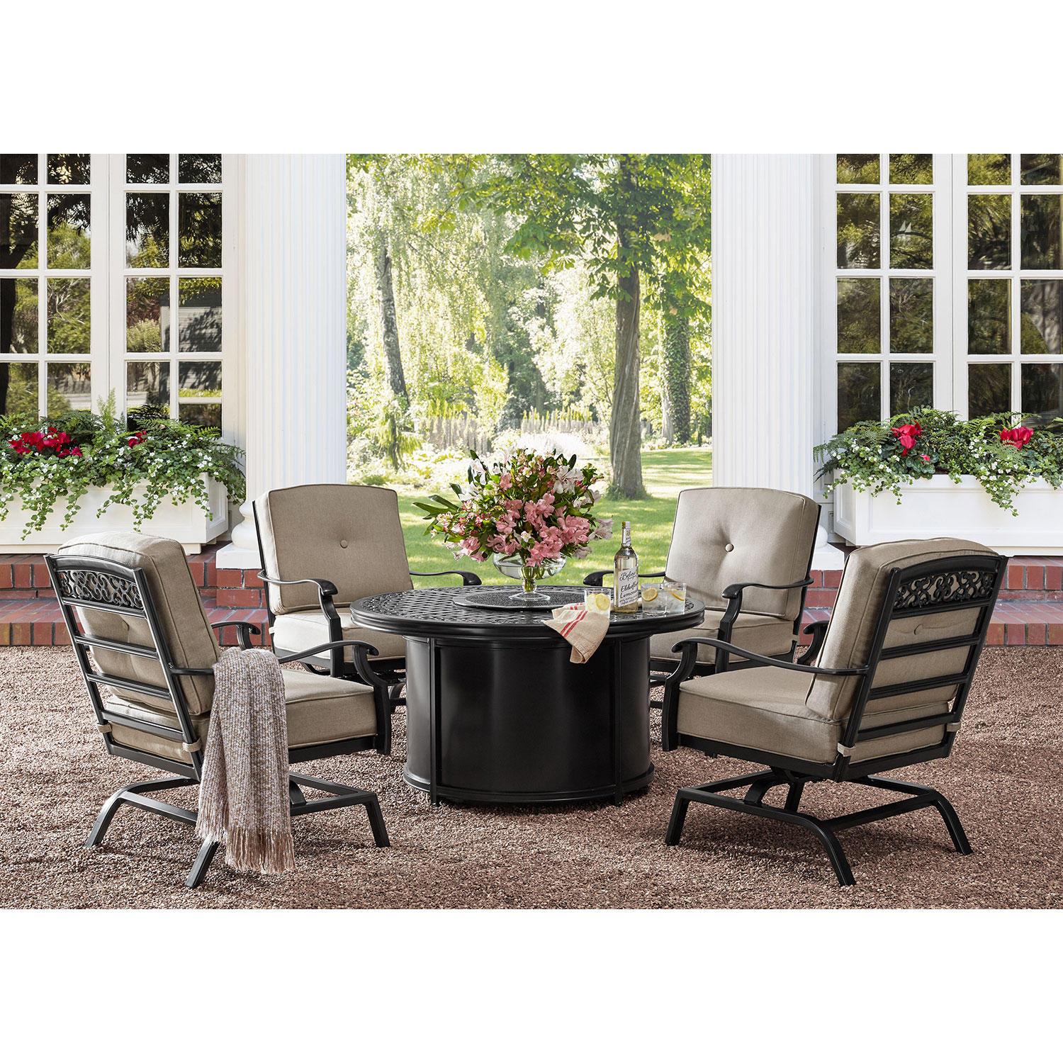 Member's Mark Agio Hastings 5-Piece Fire Pit Patio Chat Set with Sunbrella Fabric