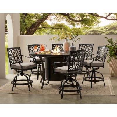 Member S Mark Agio Hastings 7 Piece High Dining With Fire Pit And Sunbrella Fabric Sam S Club