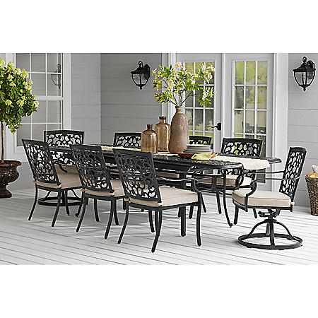 Member's Mark Agio Hastings 9-Piece Extension Table Dining Set with Sunbrella Fabric