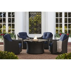 Member's Mark Agio Heritage 5-Piece Fire Chat Set with Sunbrella Fabric - Indigo
