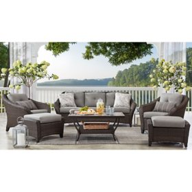 Member's Mark Agio Toronto 6-Piece Patio Deep Seating Set with Sunbrella Fabric - Grey