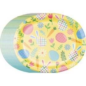 "Member's Mark Easter Wreath Oval Paper Plates Mixed Pack, 10"" x 12"" (55 ct.)"