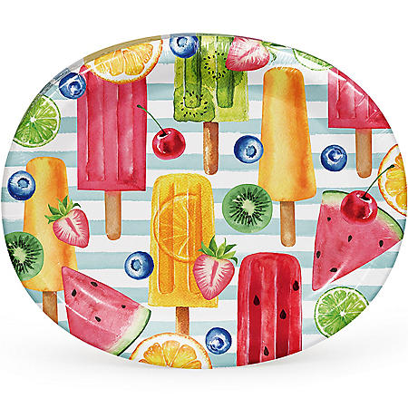 "Member's Mark Summer Fun Treats Oval Paper Plates, 10"" x 12"" (55 ct.)"