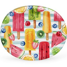 "Member's Mark Summer Fun Treats Oval Paper Plates, 10"" x 12"" (55 ct.)"