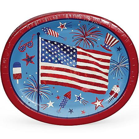 "Member's Mark Patriotic Fun Oval Paper Plates, 10"" x 12"" (55 ct.)"
