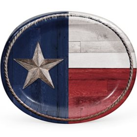 """Member's Mark Patriotic Flag of Texas Oval Paper Plates, 10"""" x 12"""" (55 ct.)"""