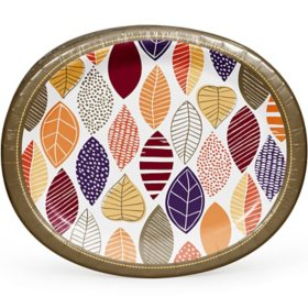 """Member's Mark Little Leaves Oval Paper Plates, 10"""" x 12"""" (55 ct.)"""