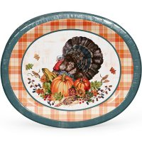 """Member's Mark Glorious Turkey Oval Paper Plates, 10"""" x 12"""" (55 ct.)"""