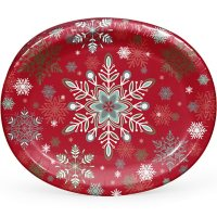 """Member's Mark Festive Snowflakes Oval Paper Plates, 10"""" x 12"""" (55 ct.)"""