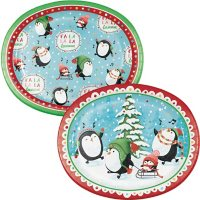 """Member's Mark Penguin Pals Oval Paper Plates, 10"""" x 12"""" (55 ct.)"""