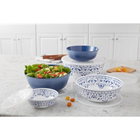 Member's Mark 10-Piece Melamine Mixing Bowls with Lids (Assorted Colors)