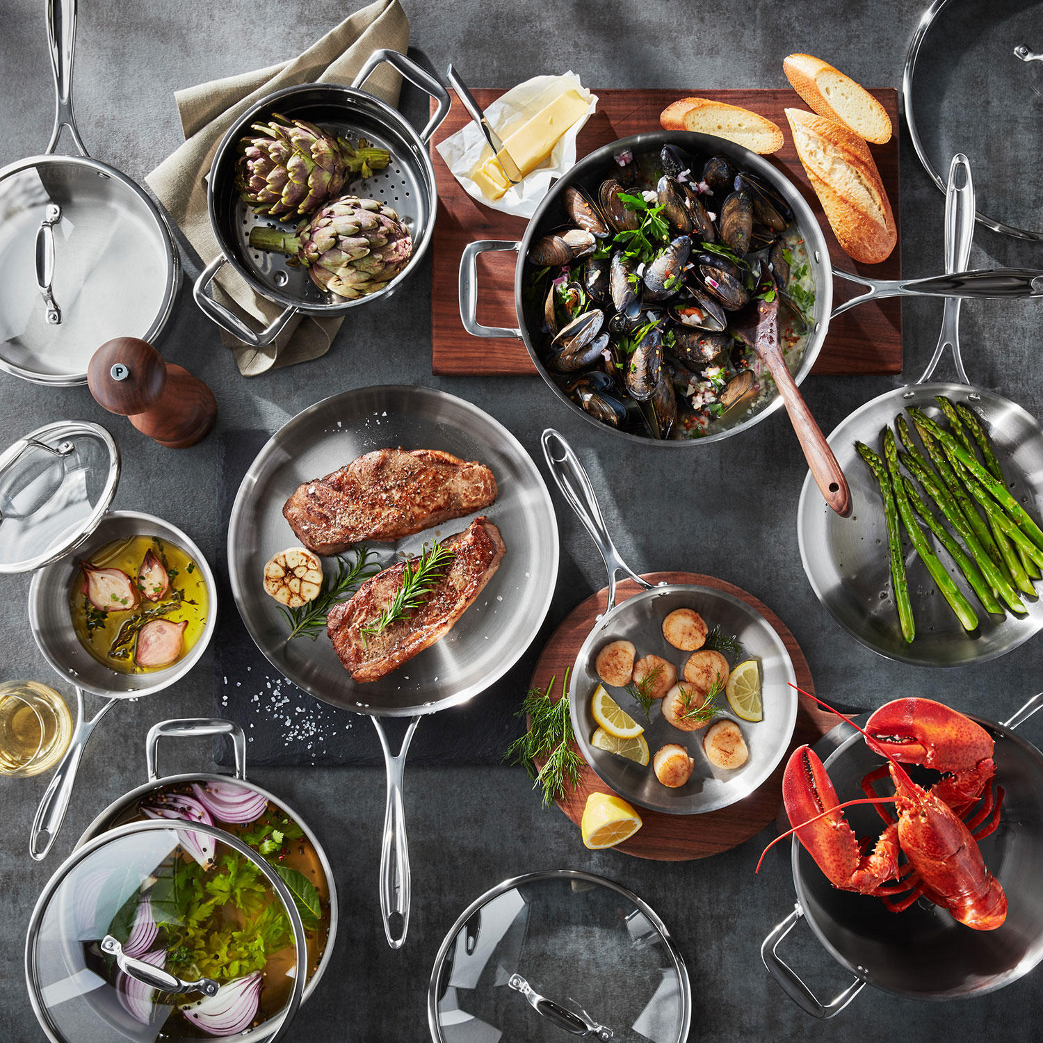 Tramontina 14-Piece Tri-Ply Clad Stainless Steel Cookware Set with Glass Lids