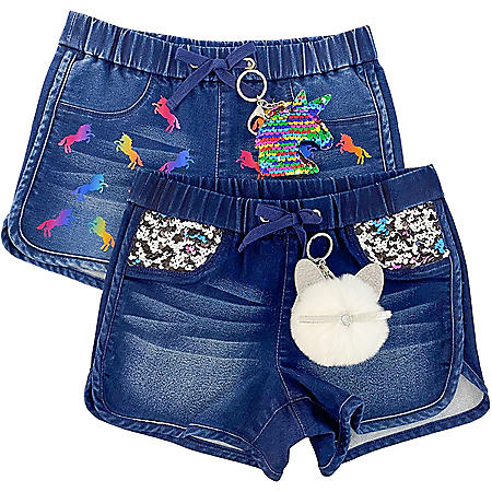 Member's Mark Girls 2pk Knit Denim Shorts