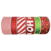 Member's Mark 6 Pk. Premium Wired Ribbon (Holly Jolly Holiday)