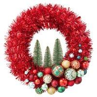 "Member's Mark 24"" Shatterproof Ornament Tinsel Wreath ( Red)"