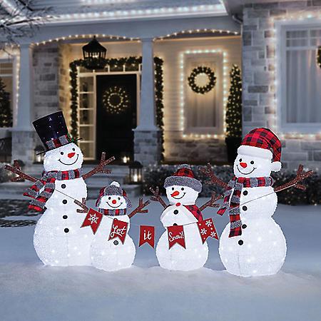 Member's Mark Pre-Lit Pop-Up Twinkling Snowman Family
