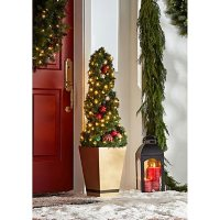 """Member's Mark Pre-Lit 50"""" Spiral Topiary (Red/Gold)"""
