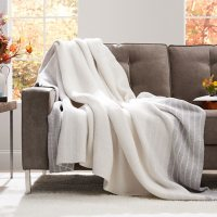 Member's Mark Luxury Premier Collection Cozy Knit Heathered Border Throw (Assorted Colors)