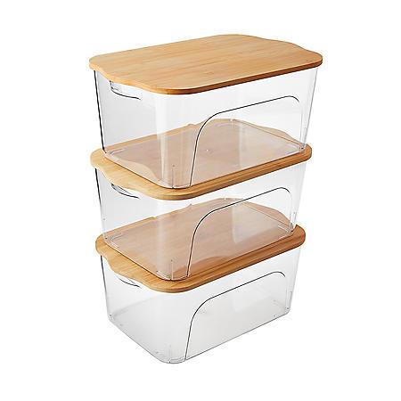 Member's Mark Multipurpose Storage Bins with Bamboo Lids, Set of 3