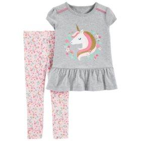 Carter's 2-Piece Unicorn Peplum Top & Floral Legging Set