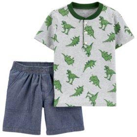 Carter's 2-Piece Dinosaur Jersey Henley & Chambray Short Set
