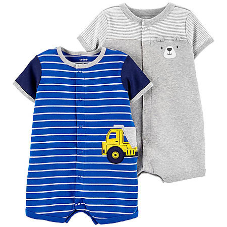 Carter's Striped Construction Snap-Up Romper and Bear Snap-Up Romper