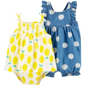Carter's Lemon Jersey Sunsuit and Polka Dot Chambray Romper