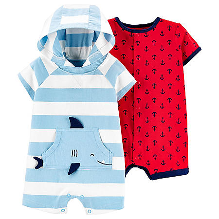 Carter's Striped Shark Jersey Romper and Anchor Snap-Up Romper