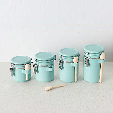 Ceramic Canisters with Air-Tight Clamp-Top Lids and Wooden Spoons, 4-Piece Set (Assorted Colors)