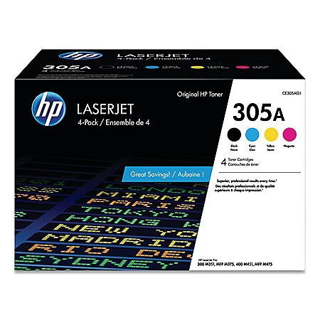 HP 305A (CE305AQ1) 4-Pack Black/Cyan/Magenta/Yellow Original LaserJet Toner Cartridges