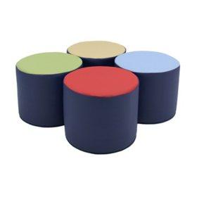 """SoftScape 15"""" Accent Ottoman Set,  4-Piece Set (Assorted Colors)"""