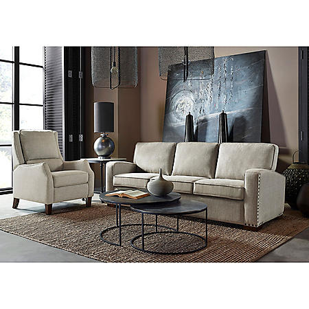 Drexel Lawrence Sofa, Cream Fabric Upholstery