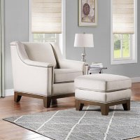 Harlow Chair & Ottoman Set, Cream