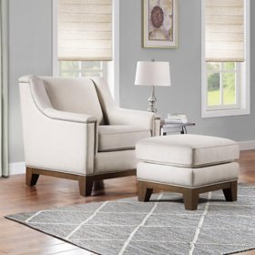 Harlow Chair & Ottoman Set, Cream