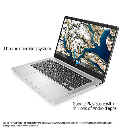 "HP - 14"" HD Chromebook - Intel Celeron N4000 Processor - 4GB Memory - 32GB eMMC - 2 Year Warranty Care Pack - Chrome OS"