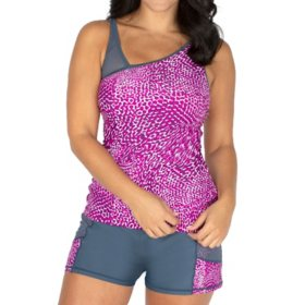 Free Country Ladies 2-piece Swim Set With Asymetrical Mesh Shoulder Tankini & Swim Short
