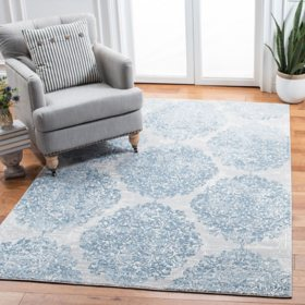 Martha Stewart Alle Area Rug - Quilt Blue/Stone Grey, Assorted Sizes