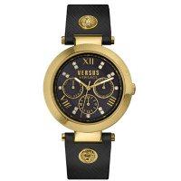 Versus Versace Women's Camden Market Gold-tone Black Leather Strap Watch, 38mm