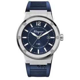 Ferragamo Men's F-80 Blue Silicone Strap Watch, 44mm