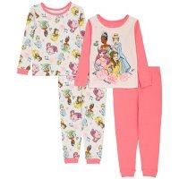 Licensed Disney Princess 4 Piece Cotton PJ Set