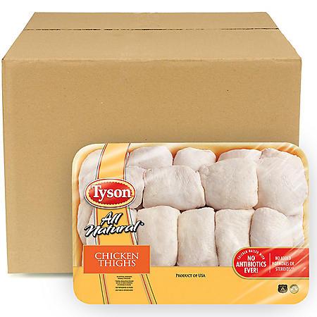Tyson Chicken Bone-In Thighs, Bulk Wholesale Case (12 ct./6 pkgs., priced per pound)