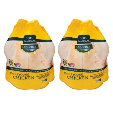 Sanderson Farms Whole Young Chickens, Twin Pack (8-12 Lbs Weight Range)