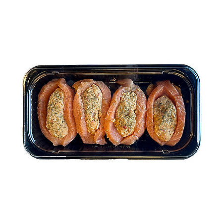 Fresh Atlantic Salmon with Seafood Stuffing (priced per pound) - 1 7-2 7lbs