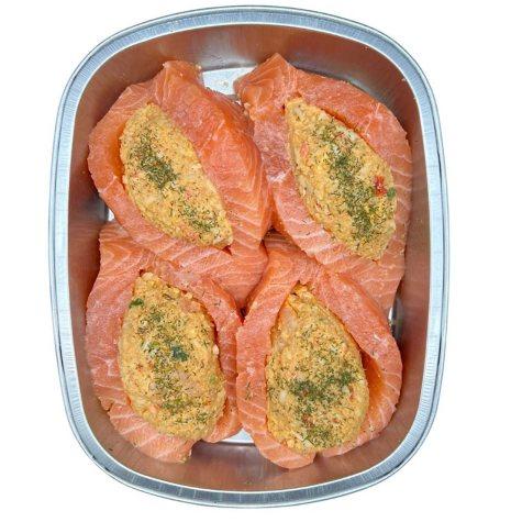 Fresh Atlantic Salmon with Seafood Stuffing (priced per pound)