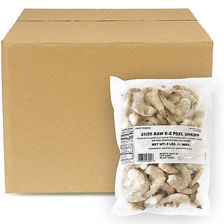 Frozen Raw EZ Peel Shrimp, 21-25 shrimp per pound, Bulk Wholesale Case (30 lbs.)