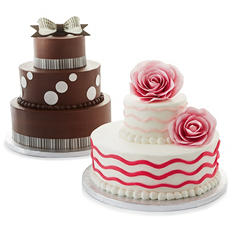 2 Tier White and Chocolate Cake with But'r'Crème Icing
