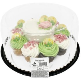 """Member's Mark Spring 5"""" Cake with 10 Cupcakes"""