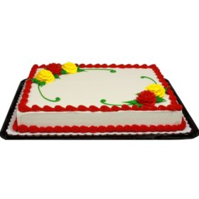Member's Mark White Half Sheet Rose Cake with Regular Icing